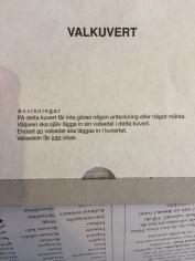 La busta per le schede elettorali. Il testo spiega che non ci devono essere segni nella busta e che ci si può infilare dentro una sola scheda.