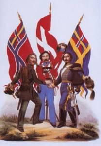 La raffigurazione classica della Scandinavia.  Questa immagine appare tipicamente nei libri scolastici scandinavi.