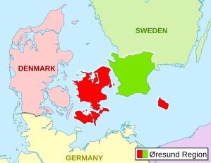 Regione di Öresund.  Immagine tratta da Wikimedia, opera dell'utente Entbert su licenza Creative Common
