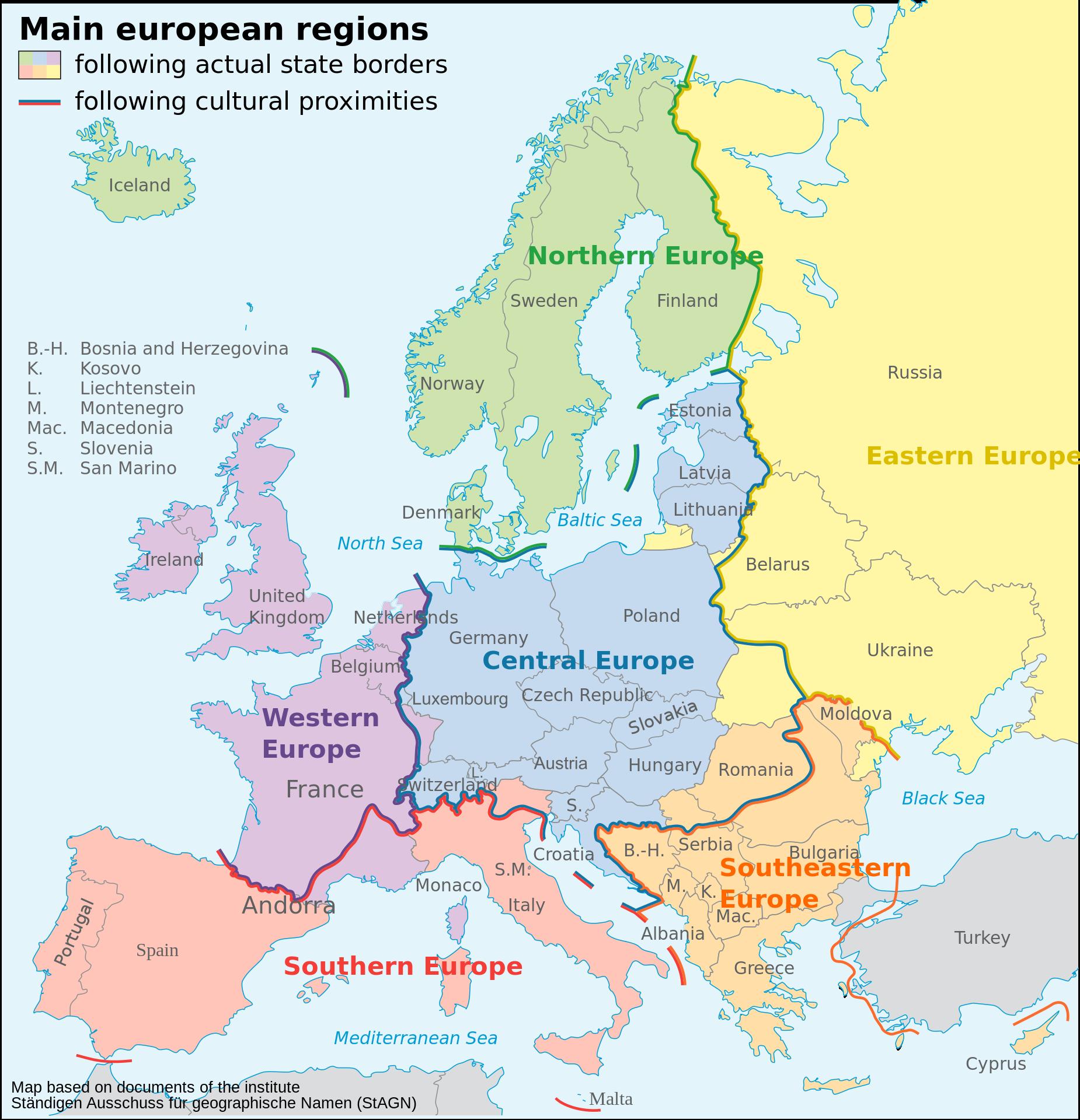 Le suddivisioni dell'Europa. Immagine da Wikimedia su licenza Creative common.
