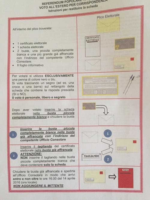 Le istruzioni di voto: notare la parte sul mittente!