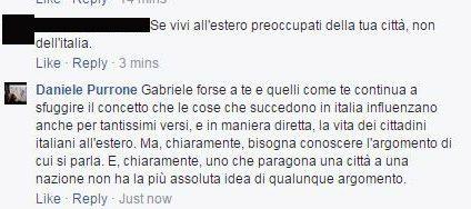 Immagino che Gabriele, che scrive sulla pagina di Salvini, sia favorevole a dare il voto agli stranieri residenti in Italia, dato che devono preoccuparsi di dove vivono.